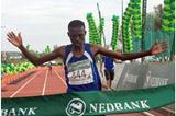 Lesotho's Mabothile Lebopo winning the men's marathon (Mark Ouma)