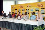 Press Conference - l to r Chris Turner (IAAF), Abebe Zeruen (Ethiopian National Coach), Zersenay Tadesse, Anikó Kálovics, Mubarak Hassan Shami, Edith Masai, Jolanda Ceplak (photo - Zsolt Czegledi)