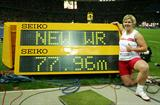Newly crowned World Record holder Anita Wlodarczyk of Poland with her record distance at the IAAF World Championships in Berlin (Getty Images)