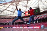 Allan Johnson and Dwight Phillips at the Bird's Nest stadium (Getty Images)