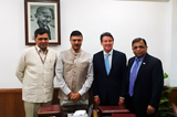 Injeti Srinivas, Director General, Sports Authority of India, Rajiv Yadav, Sports Secretary, Government of India, IAAF President Sebastian Coe and IAAF Council Member Adille Sumariwalla (AFI)