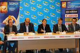 Co-ordination Commission visit press conference - left to right: - Sopot 2014 Competition Director Jerzy Smolarek, Essar Gabriel, Organisation Delegate Jose Maria Odriozola, Deputy Mayor of Sopot Bartosz Piotrusiewicz and Kamil Kukulka, Director General of Sopot 2014 (AMS)
