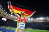 Germany's Raul Spank celebrates winning the bronze medal in the men's High Jump final in front of a home crowd in the Berlin Olympic Stadium (Getty Images)