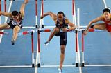 Aries Merritt of the United States (C) competes with Lui Xiang of China (R), Andrew Pozzi of Great Britain (L) in the Men's 60 Metres Hurdles Final during day three - WIC Istanbul (Getty Images)
