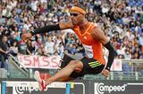 Javier Culson on his way to winning the 400m Hurdles at the Golden Gala (Giancarlo Colombo)