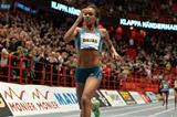 Genzebe Dibaba setting a 5000m world indoor record at the 2015 XL-galan meeting in Stockholm (DECA Text&Bild)