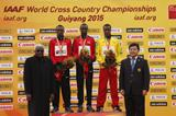 Senior men's medallists Geoffrey Kamworor, Bedan Karoki and Muktar Edris at the IAAF World Cross Country Championships, Guiyang 2015 (Getty Images)