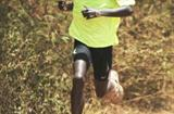 Kenya's 12km champion Moses Mosop in full flight during training in Embu on the slopes of Mt Kenya (Elias Makori)
