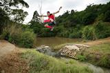 Godfrey Mokoena leaps over a crocodile (Red Bull)