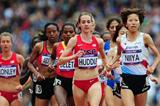 Hitomi Niiya of Japan and Molly Huddle of the United States lead the pack in the Women's 5000m Round 1 Heats on Day 11 of the London 2012 Olympic Games on 7 August 2012 (Getty Images)