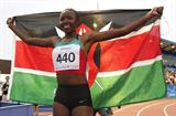 Mercy Cherono of Kenya celebrates winning the 3000m gold in Moncton (Getty Images)