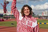 Ivan Ukhov, 2012 Olympic High Jump champion, at the training track in London Olympic Park, salutes one year to go to Moscow 2013  (Moscow 2013)