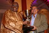 IAAF President Diack presents the IAAF Continental Cup to NACAC President Victor Lopez in Marrakech following their 2010 win (Getty Images)