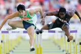 Dayron Robles and Liu Xiang stride-for-stride, almost - Stuttgart 2006 (Getty Images)