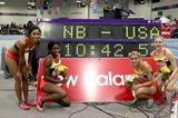 USA women's team after setting a distance medley relay world best at the 2015 New Balance Indoor Grand Prix in Boston (Victah Sailer)