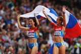 Gold medalist Mariya Savinova (L) of Russia celebrates with bronze medalist Ekaterina Poistogova of Russia after the Women's 800m Final of the London Olympic Games on 11 August 2012 (Getty Images)