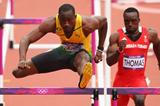 Hansle Parchment of Jamaica leads Mikel Thomas of Trinidad and Tobago in the Men's 110m Hurdles Round 1 Heats on Day 11 of the London 2012 Olympic Games 07 August 2012 (Getty Images)