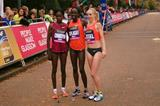 Top three women at the Great Scottish Run:  Doris Changeywo (2nd), Edna Kiplagat (winner), Gemma Steel (third) (Organisers)