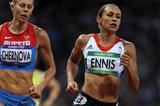 Jessica Ennis (R) on her way to winning gold in the heptathlon on Day 8 of the London 2012 Olympic Games at Olympic Stadium on August 4, 2012  (Getty Images)