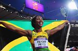 Silver medalist Shelly-Ann Fraser-Pryce of Jamaica celebrates after the Women's 200m Final on Day 12 of the London 2012 Olympic Games at Olympic Stadium on August 8 2012 (Getty Images)
