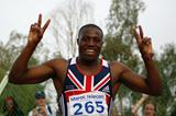 Harry Aikines-Aryeetey of GBR celebrates his gold medal in the Boys' 200m final at the World Youth Championships (Getty Images)