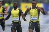 Gary Kikaya just holds off Xavier Carter in the rain in Glasgow (Getty Images)