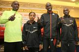 Gilbert Yegon, Henry Sugut, Kebebush Haile and Jafred Kipchumba at the 2013 Vienna Marathon press conference (Giancarlo Colombo / photorun.net)