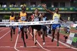 Ayanleh Souleiman winning the Bowerman Mile at the 2015 IAAF Diamond League meeting in Eugene (Kirby Lee)