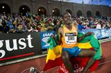 Muktar Edris after winning the 5000m at the 2014 IAAF Diamond League meeting in Stockholm (DECA Text & Bild)