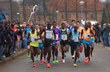 The leading pack (winner Hizqel Tewelde bib 20) at the 2014 Montferland Run  (Organisers)