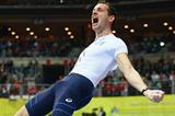 Renaud Lavillenie celebrates his winning pole vault clearance at the European Indoor Championships (Getty Images)