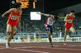 Liu Xiang winning from lane 9 (!) in Osaka (Getty Images)