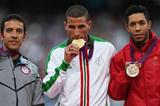 (L-R) Silver medalist Leonel Manzano of the United States, gold medalist Taoufik Makhloufi of Algeria and bronze medalist Abdalaati Iguider of Morocco pose on the podium during the medal ceremony for the Men's 1500m on Day 12 of the London 2012 Olympic Games at Olympic Stadium on August 8, 2012  (Getty Images)