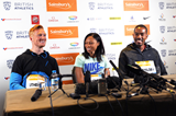 Greg Rutherford, Allyson Felix and Christian Taylor at the press conference for the IAAF Diamond League meeting in Birmingham (Jean-Pierre Durand)