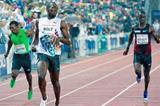 Usain Bolt finishes ahead of Jaysuma Saidy Ndure in the 200m at the 2011 Oslo Diamond League (Hasse Sjogren)