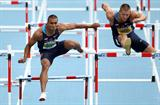 Ashton Eaton and Trey Hardee battle it out in the high hurdles in Daegu (Getty Images)