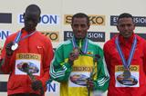 Leonard Patrick Komon (l) sharing the podium with Kenenisa Bekele and Zersenay Tadese (Getty Images)