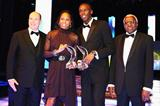 HSH Prince Albert II of Monaco (l) and IAAF President Lamine Diack (r) with 2009 World Athletes of the Year Sanya Richards and Usain Bolt at the IAF World Athletics Gala in Monaco (Getty Images)