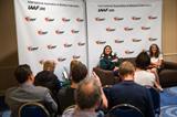 Valerie Adams speaks to the press in Monaco (Philippe Fitte / IAAF)