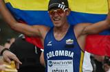 Eider Arevalo celebrates winning the junior title at the IAAF World Race Walking Cup in Saransk (Getty Images)