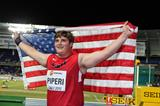 Boys' shot put winner Adrian Piperi at the IAAF World Youth Championships, Cali 2015 (Ismael El Kosht / IAAF)