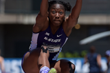Akela Jones in the heptathlon long jump at the NCAA Championships (Kirby Lee)