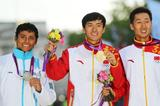 (L-R) Silver medalist Erick Barrondo of Guatemala, gold medalist, Ding Chen of China, and bronze medalist Zhen Wang of China celebrate their medals in the Men's 20k Walk on Day 8 of the London 2012 Olympic Games at Olympic Stadium on August 4, 2012 (Getty Images)