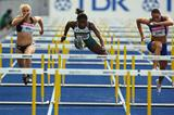 (L-R) Andrea Miller of New Zealand, Olutoyin Augustus of Nigeria and Cindy Billaud of France in the women's 100m hurdles heat in Berlin (Getty Images)