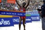 Margaret Okayo breaks the tape at the 2003 New York Marathon (Victah Sailer)