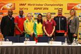 Bruny Surin, Allen Johnson, Sally Pearson, Genzebe Dibaba, Anna Rogowska, Ashton Eaton and Natallia Dobrynska at the press conference in Sopot (Getty Images)
