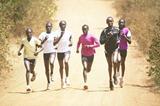 Kenya's 8km champion Florence Kiplagat (extreme left) trains with her Kenya team senior women's team mates (left to right) Pauline Korikwiang, Innes Chenonge, Linet Chepkurui, Anne Karindi and Linet Masai in Embu on the slopes of Mt Kenya (Elias Makori)