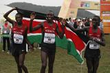 Bedan Karoki, Geoffrey Kamworor and Leonard Barsoton after the senior men's race at the IAAF World Cross Country Championships, Guiyang 2015 (Getty Images)
