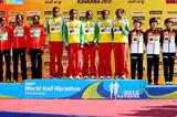 Women's team podium in Kavarna: silver medallists Kenya, winners Ethiopia, and bronze medallists Japan (Getty Images)