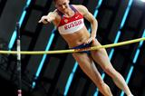 World record holder Elena Isinbaeva of Russia in flight during the women's pole vault (Getty Images)